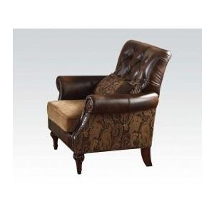 DREENA BONDED LEATHER/CHENILLE CHAIR