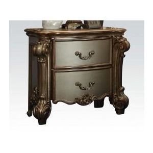 Vendome Gold Patina Finish/Bone PU Nightstand