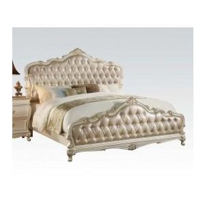 Chantelle Pearl White/Rose Gold Queen Bed