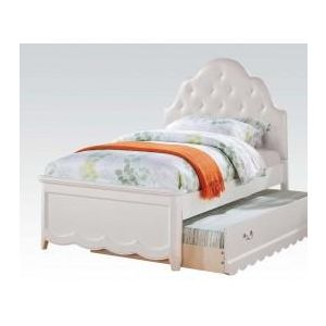 Cecilie White/ Light Pink PU Twin Bed