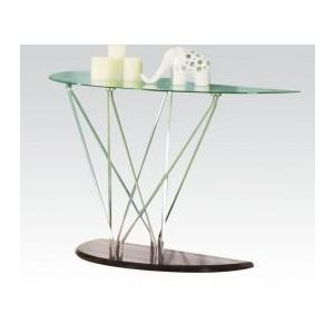 RONLI CHROME/BK SOFA TABLE W/GL TOP