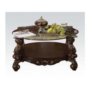 VERSAILLES BROWN VELVET/ CHERRY OAK COFFEE TABLE