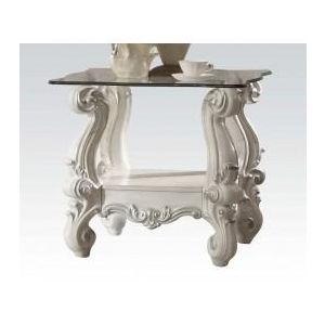VERSAILLES IVORY VELVET HIGH BACK END TABLE