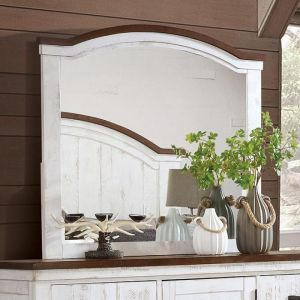 Alyson Distressed White Walnut Mirror