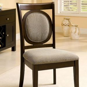 Evelyn Dark Walnut Beige Table Chair(2PK)