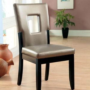 Evant Black Silver Table Chair(2PK)